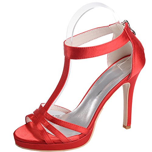 Loslandifen Mujeres Open Toe T-straps Bombas Satin Stiletto High Heels Boda Zapatos De Novia Rojo