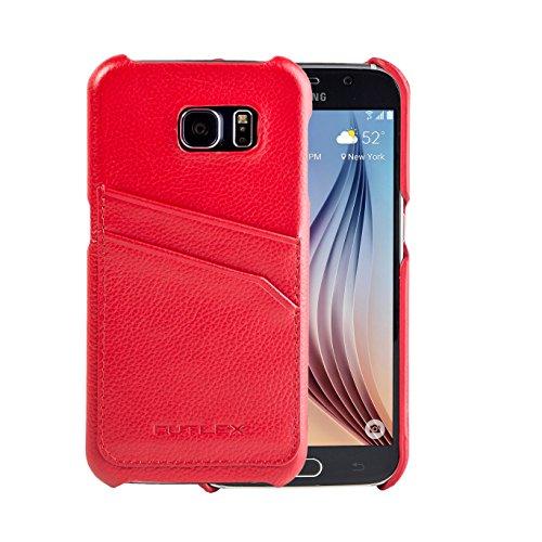 Samsung Galaxy S6 Case, FUTLEX Echtleder Rückseite Case - Rot - Kartenhalter - Ultra Slim - Präziser Zuschnitt und Design - Handgefertigt