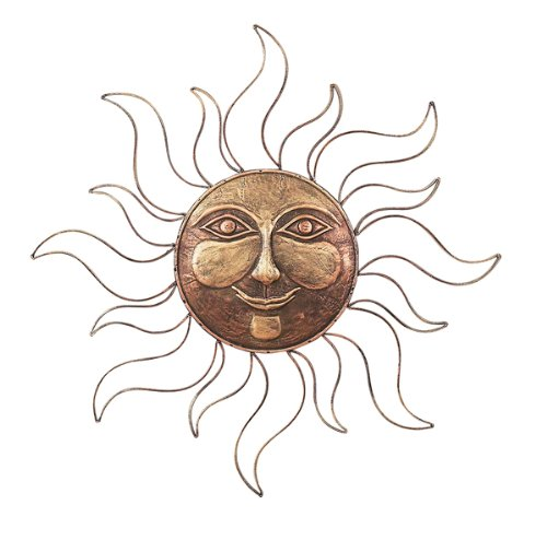 Metallic Gold Smiling Sun Metal Wall Hanging 30 Inch