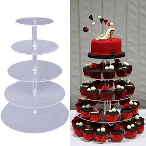 5 Tier Cake Cupcake Stand Holder, Round Crystal Clear Acrylic Cupcake Stand Wedding Party Display Cake Tower