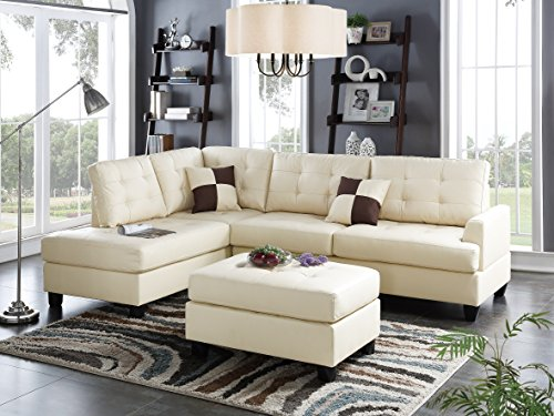 Talin 3 Pieces Sectional Sofa Upholstered in Beige Faux Leather