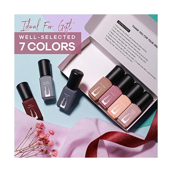 Modelones Gel Nail Polish Set, Red Brown Pink Nude Grey 7 Colors 6 ML Gift Box LED Soak Off Nail Gel Manicure Kit