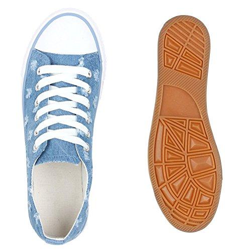 Stiefelparadies Damen Sneakers Pailletten Schuhe Spitze Häkeloptik Turnschuhe Sportschuhe Freizeitschuhe Sneaker Low Flats Flandell Hellblau Denim