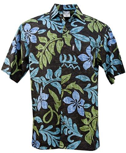 Hawaiian Go Shirt Barefoot (Go Barefoot Nalu Pareau Men's Hawaiian Print Aloha Shirt - in Black - Large)