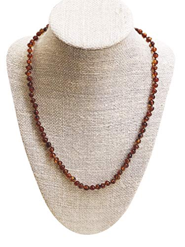 Cognac Baltic Amber Necklace - Baltic Amber Adult Necklace- Polished Cognac Color - 18 inches Long - Anti-inflammatory - Natural Pain Relief for Carpel Tunnel, Arthritis, Sinus Pressure, Headaches and Migraines