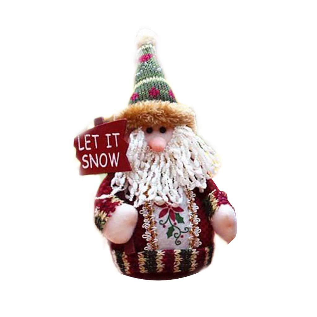 Cloudro Christmas Plush Dolls Stuffed Toys-Cute Standing Plush Toy Xmas Ornament Gift Home Table Decor-Santa Snowman Deer (Santa)
