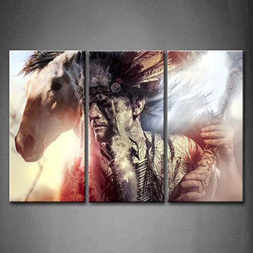 First Wall Art - 3 Panel Wall Art American Indian Warrior Man With Feather Headdress And Tomahawk Horse Gray Background Painting Pictures Print On Canvas People The Picture For Home Modern Decoration piece (Stretched By Wooden Frame,Ready To Hang) by Firstwallart