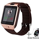 Dz09 Bluetooth Smart Watch All in one, Beaulyn Unlocked Watch Cell Phone, Bluetooth wach for iOS and Android Phones TCL, ZTE,Sony, LG.for Mens and Women (Gold-Brown)