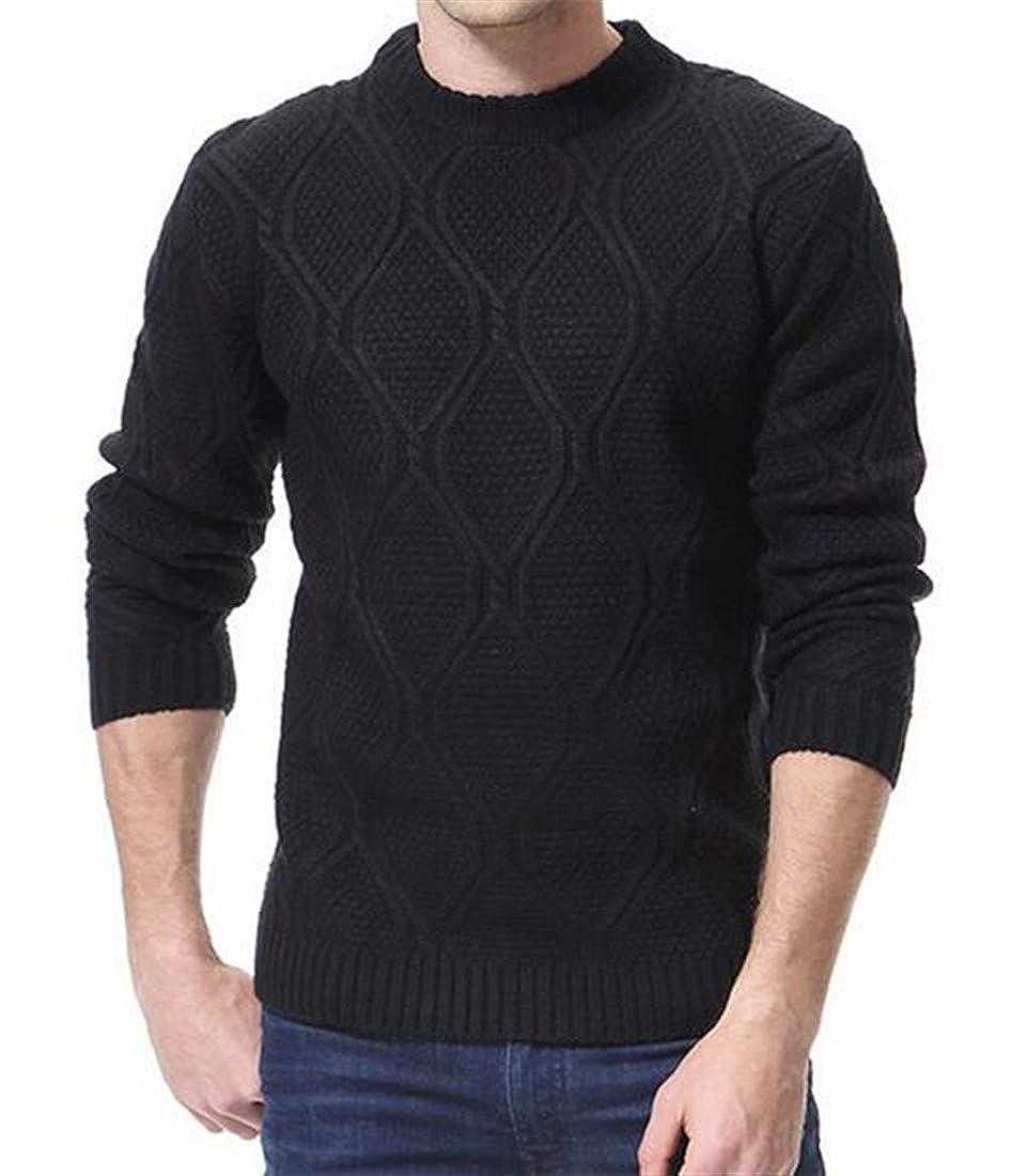 YUELANDE Men Crewneck Long Sleeve Sweater Casual Cable Knitwear Plain Pullover