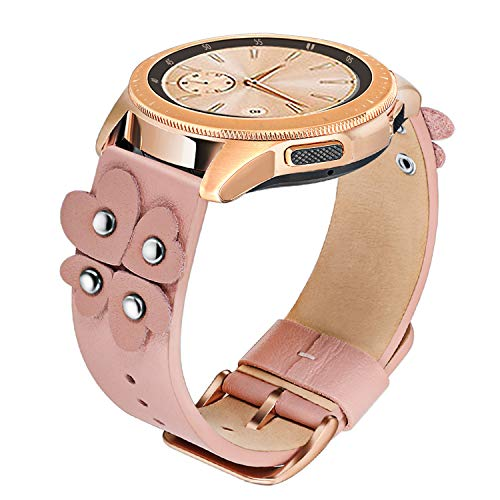 for Samsung Galaxy Watch 42mm Women Watchband, TRUMiRR 20mm Soft Genuine Leather Watch Band Bracelet Rose Gold Clasp Quick Release Strap for Gear S2 Classic, Garmin Vivoactive 3,Pink