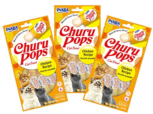INABA Churu Pops Moist and Chewy Cat Treat (Chicken Recipe, 12 Tubes)