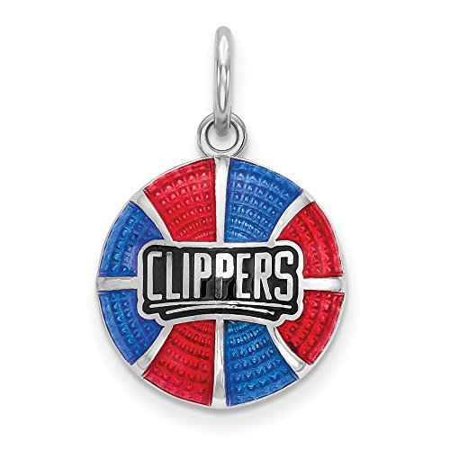 FB Jewels Solid Sterling Silver Los Angeles Clippers Enameled Basketball Pendant