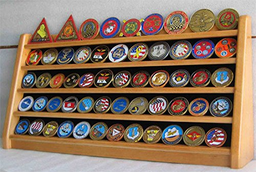 Oak Challenge Coin 5 Row Chip Display Case Holder Rack Stand Solid Wood - Eyewear Row The