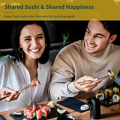 Sushi Making Kit, Delamu 21 in 1 Sushi Maker Bazooker Roller Kit with Bamboo Mats, Chef's Knife, Trigangle/Nigiri/Gunkan Sushi Rice Mold, Chopsticks, Sauce Dishes, Rice Spreader, User Guide