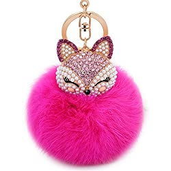 Rose-Red Fur Ball Keychain with Fox Head Studded with Rhinestone