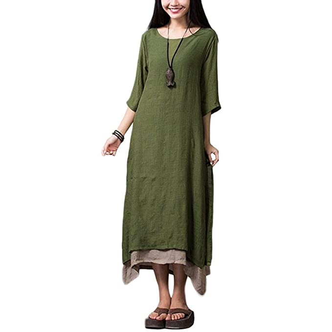 074ade6e0c Romacci Women Casual Maxi Dress Vintage Chinese Style Layers Loose Boho  Long Dress Army Green