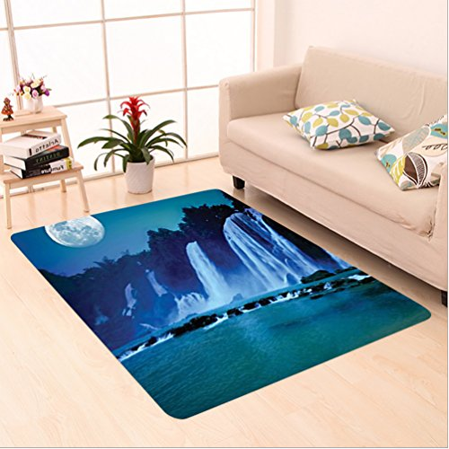 Birch Glass Waterfall (Nalahome Custom carpet ecor Waterfall Under Moonlight Full Moon Nature Night Print Accessories Navy Blue Dark Turquoise area rugs for Living Dining Room Bedroom Hallway Office Carpet (5' X 8'))