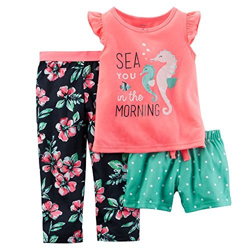 Carter's Little Girls' 3-Piece Jersey Pajama Set (4T, Pink) ()