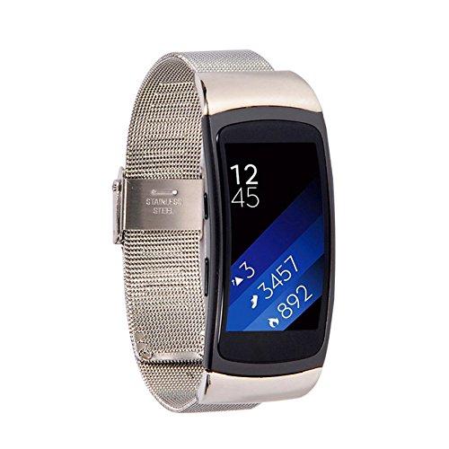 Huishang Fit2 Metall Uhrenarmband Handschlaufe Armband Zubehör Band Strap für Samsung Gear Fit 2 SM-R360 SmartWatch (Metal Silver Mesh(6-8.8inch))