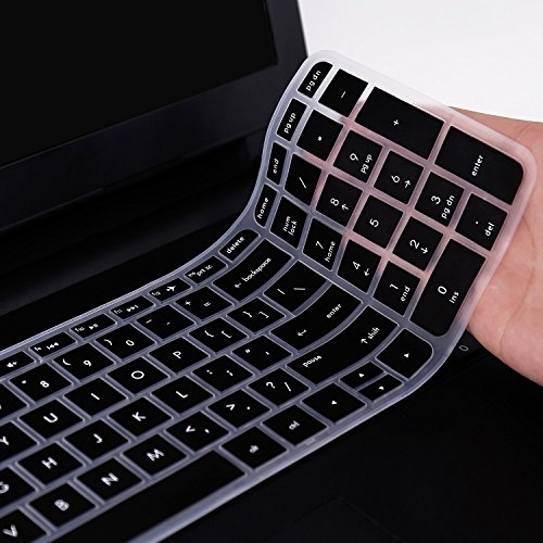 Saco Keyboard Silicon Protector Cover for HP Pavilion 15-ab219TX 15.6-inch Laptop (Black/Clear)