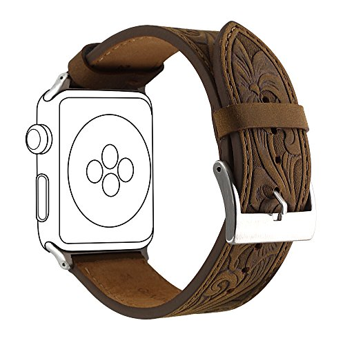 Apple Watch Retro Leather Carved Bands, Ezzdo Handmade Bump Genuine Leather Replacement Strap For Men Women Brown Bracelet For Iwatch 38mm 42mm Series 1 / 2 / 3 (Retro Brown 42mm) Dynasty Leather Watch