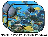 Liili Car Sun Shade for Side Rear Window Blocks UV Ray Sunlight Heat - Protect Baby and Pet - 2 Pack School of Colorful Tropical Fish with Coral in Background Image ID 12918903