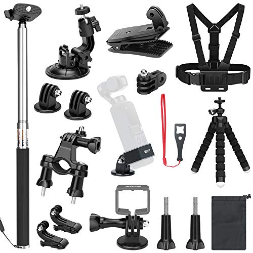 Skyreat Expansion Accessories Kit for DJI Osmo Pocket Handheld Camera Mounts Chest Strap Bike Car Backpack Clip Mount Tripod Holder for Osmo Pocket