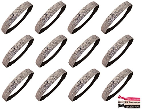 (Kenz Laurenz 12 Pack Glitter Headbands U PICK (Available in LOTS of COLORS) - Elastic Stretch Sparkly Fashion Headband for Teens Girls Women Softball Volleyball Basketball Sports Teams Set Hair Accessories Store (Silver))