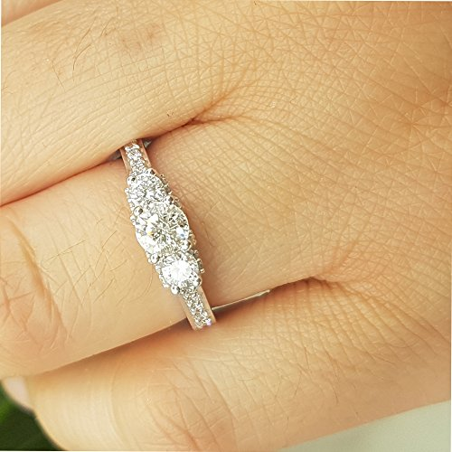 Dazzlingrock Collection 1.00 Carat (ctw) 14K Round White Diamond 3 Stone Bridal Engagement Ring 1 CT, White Gold, Size 8 by Dazzlingrock Collection (Image #7)