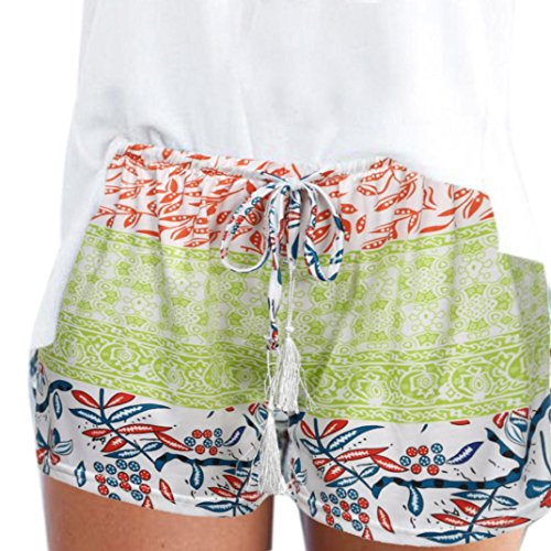 Paymenow Clearance Women's Boho Floral Print Summer Beach Tassel Elastic Shorts Jersey Walking Shorts