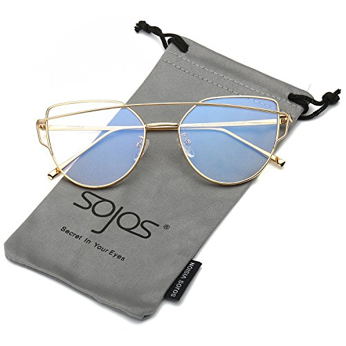 - SOJOS Fashion Twin-Beams Metal Frame Cat Eye Women Clear Lens Glasses SJ1001 with Gold Frame/Clear Lens