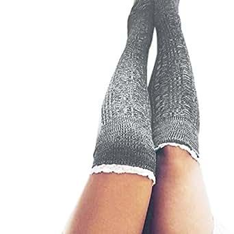 Mchoice Women Cotton Thigh High Long Stockings Knit Over Knee Socks (Dark Grey)