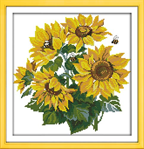 Stamped Cross Stitch Starter Kits Cross-Stitching Pre-Printed Pattern for Embroidery Needlework Art Crafts Beginners Adults-Sunflower Kit (Cross Stitch Printed)