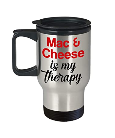amazon com mac cheese is my therapy travel mug with lid unique