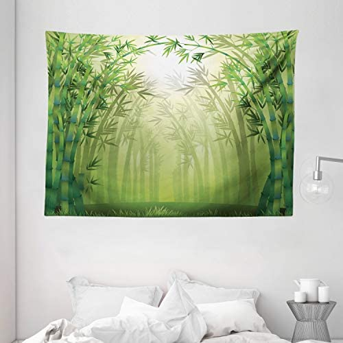 Ambesonne Bamboo Tapestry, Image of Bamboo Trees in Rain Forest Far Eastern Wildlife Tropical Nature Inspired Style, Wide Wall Hanging for Bedroom Living Room Dorm, 80 X 60 , Green