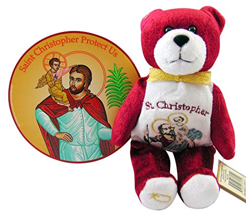 Westman Works St Christopher Travel Gift Set with Plush Teddy Bear and Car or Truck Magnet