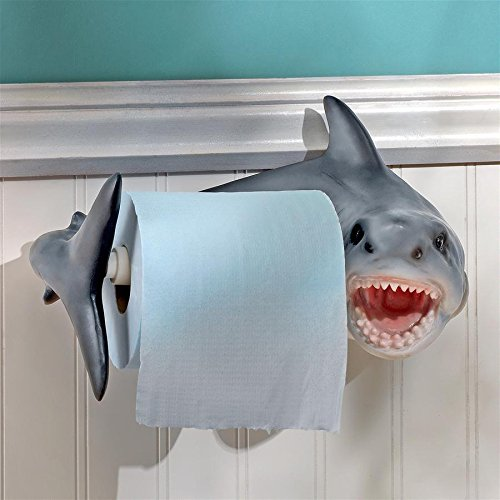 Design Toscano Shark Attack Bathroom Toilet Paper Holder, Multicolor (Shark Themed Bathroom)
