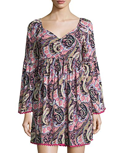 (Romeo & Juliet Couture Paisley V-Neck Shift Dress, Pink/Multi, Size: S)