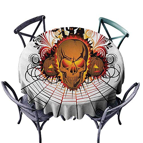 VIVIDX Anti-Fading Tablecloths,Halloween,Angry Skull Face on Bonfire Spirits of Other World Concept Bats Spider Web Design,for Events Party Restaurant Dining Table Cover,40 INCH,Multicolor -