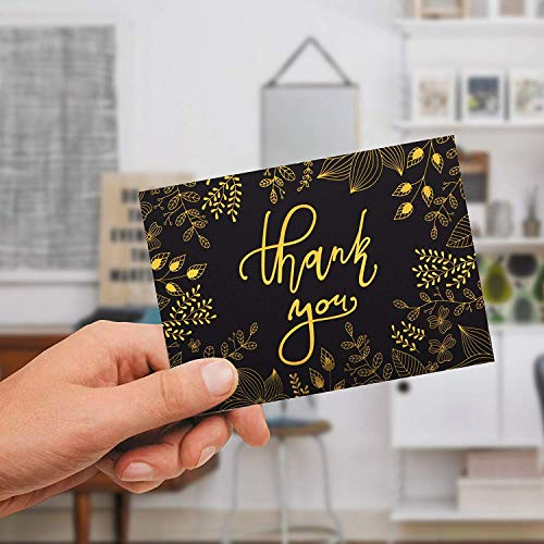 50 Thank You Cards with Gold Floral Script Black Photo #10