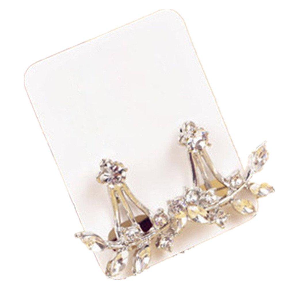 FANMURAN 1 Pair Girl Simple Rhinestone Leaves Swing Ear Studs Earrings Presents Silver
