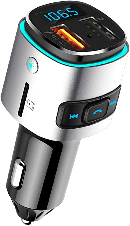 SD Card Silver V5.0 Bluetooth FM Transmitter for Car Handsfree Car Kit Dual USB Ports 6 Color RGB LED Backlit Bluetooth Car Radio Adapter Support USB Flash Drive 2019 New