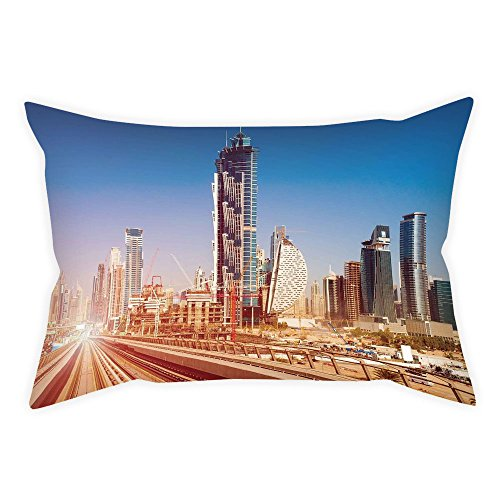 iPrint Cotton Linen Throw Pillow Cushion Cover,Urban,Modern Subway Line in Dubai Tracks Skyscrapers Futuristic View Commercial,Light Brown Blue White,Decorative Square Accent Pillow Case by iPrint
