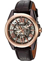 Bulova Mens Mechanical Hand Wind Stainless Steel and Leather Dress Watch, Color:Brown (Model: 98A165)