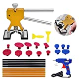 Paintless Dent Repair Tools Kit - Gold Dent Lifter with 15pcs Dent Removal Pulling Tabs Suction Cup Plate PDR Hot Melt Glue Gun Pro Glue Sticks