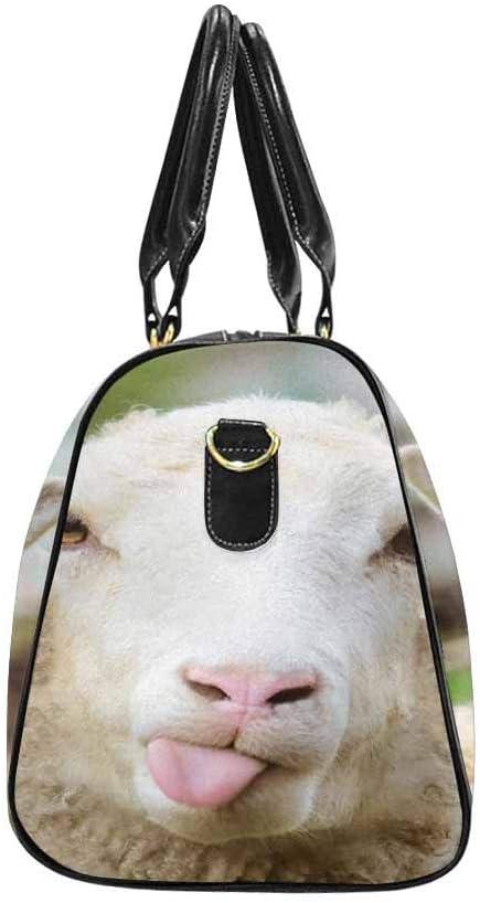 InterestPrint Unisex Duffel Bag Carry-on Bag Overnight Bag Weekender Bag Funny Naughty Sheep Showing Tongue Cute Animal