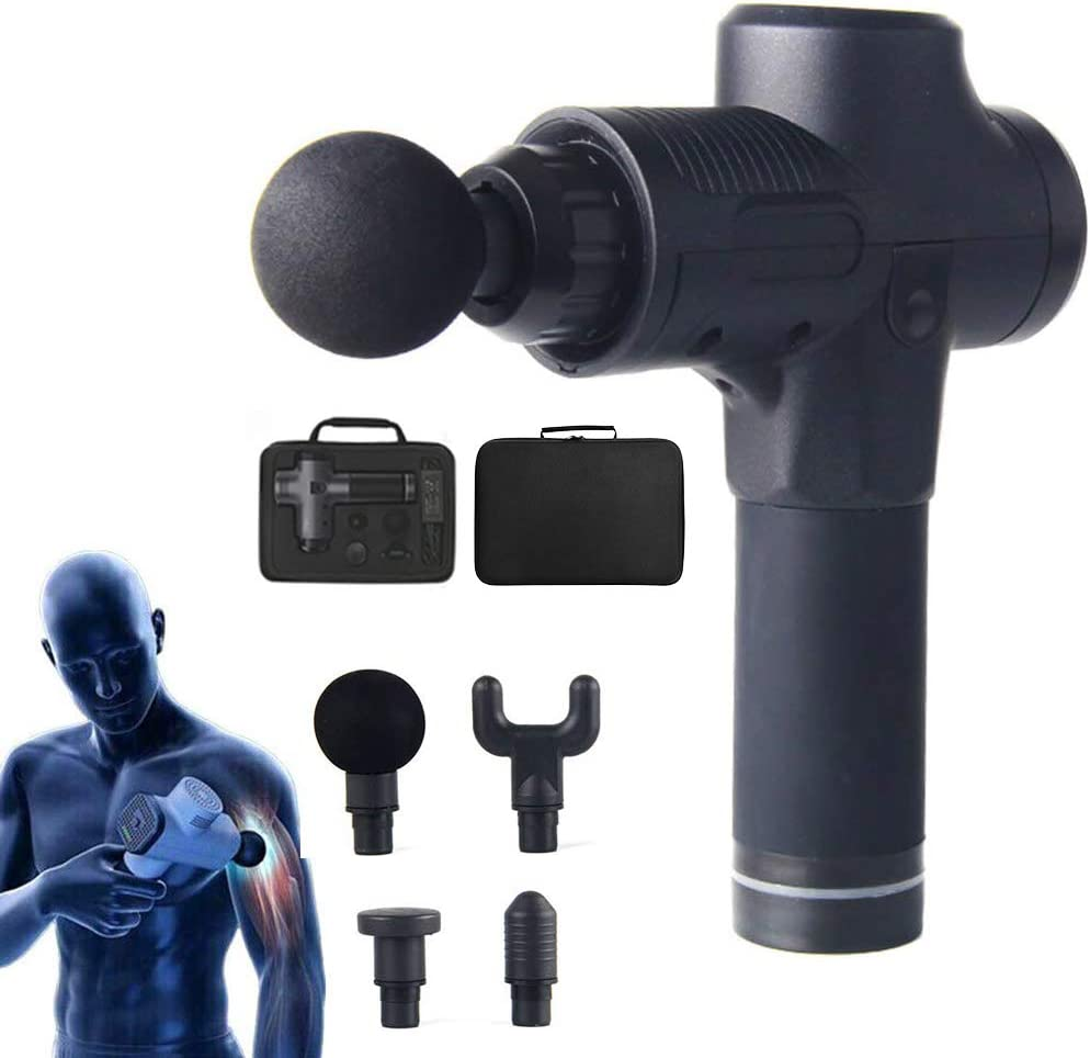 Massage Gun,3 Speed Muscle Massager Electric Deep Tissue Cordless Massage Gun Rechargeable Muscle Deep Relaxation Quiet 4 in 1 Muscle Massager Gun for Athlete