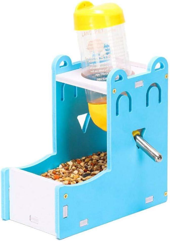 pinghub Comederos Cobaya Comederos Hamster Dispensador de Comida de hámster Conejo de la Comida Conejo Accesorios Botella de Agua para Ratas Set-Blue
