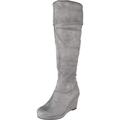ed9e54971cd Womens Ladies Over Knee High Heel Boots Casual Work Zip Wedge Heel Shoes  Size 3-8