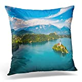 UPOOS Throw Pillow Cover Blue Castle Slovenia Aerial View Resort Lake Bled Fpv Drone Photography Air Decorative Pillow Case Home Decor Square 18x18 Inches Pillowcase